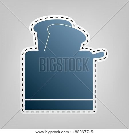 Toaster simple sign. Vector. Blue icon with outline for cutting out at gray background.