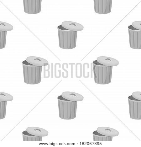 Trash can icon in cartoon style isolated on white background. Trash and garbage pattern vector illustration.