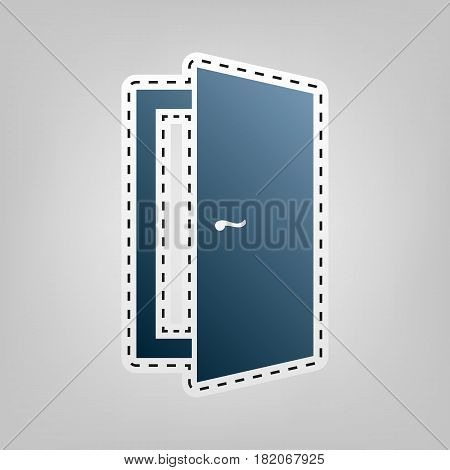 Door sign illustration. Vector. Blue icon with outline for cutting out at gray background.
