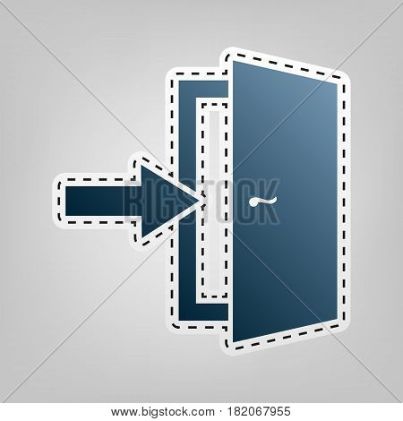 Door Exit sign. Vector. Blue icon with outline for cutting out at gray background.