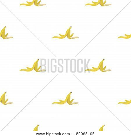 Peel of banana icon in cartoon style isolated on white background. Trash and garbage pattern vector illustration.