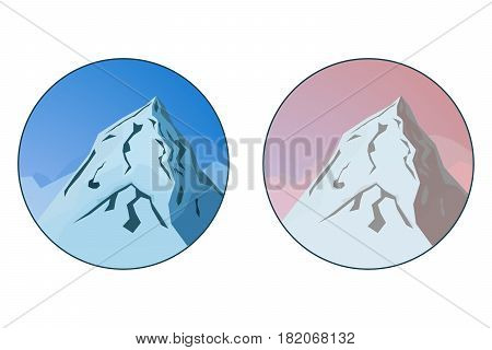 Two badges with mountain vector landscape in blue and red colors imitating blue and golden hour. Mountains logo element.