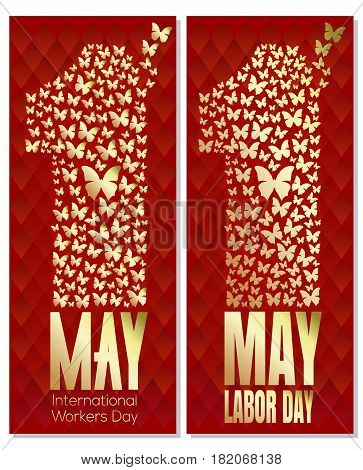 May Day. 1 May. International Labor Day. International Workers Day. Number one consisting of flying butterflies. Set flyer template for Labor Day