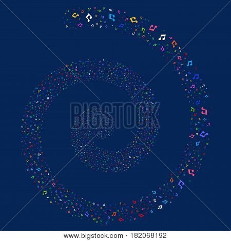 Music festival whirl spiral. Vector bright multicolored scattered symbols.