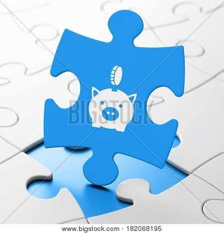 Currency concept: Money Box With Coin on Blue puzzle pieces background, 3D rendering