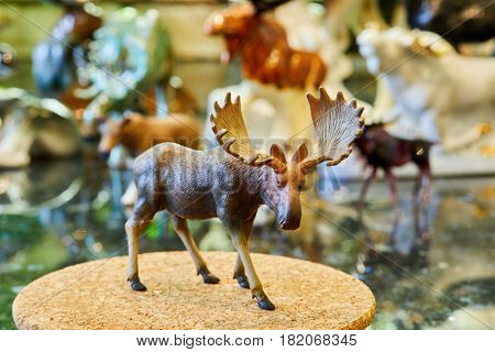 MOSCOW, RUSSIA - OCT 28, 2016: Figurine of standing bull elk at private collection.
