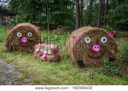 Traditional straw bale decorations for Dozynki harvest festival in Brusy commune Cassubia region of Poland