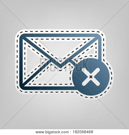 Mail sign illustration with cancel mark. Vector. Blue icon with outline for cutting out at gray background.