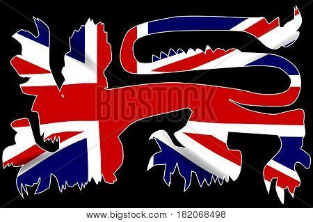 The traditional English lion in silhouette over the Union Jack United Kingdom Flag