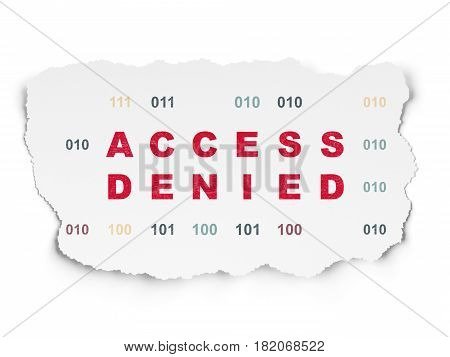 Privacy concept: Painted red text Access Denied on Torn Paper background with  Binary Code