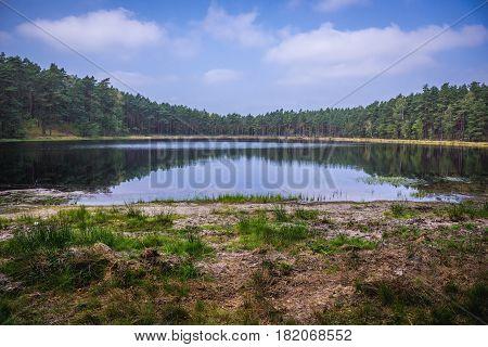 Small lake near Dziemiany town Cassubia region of Poland