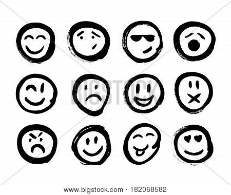 Set of Emoticons. Set of Emoji. Isolated vector illustration on white background. Set of emoticons for decoration of your projects. Collection of unique hand drawn symbols.