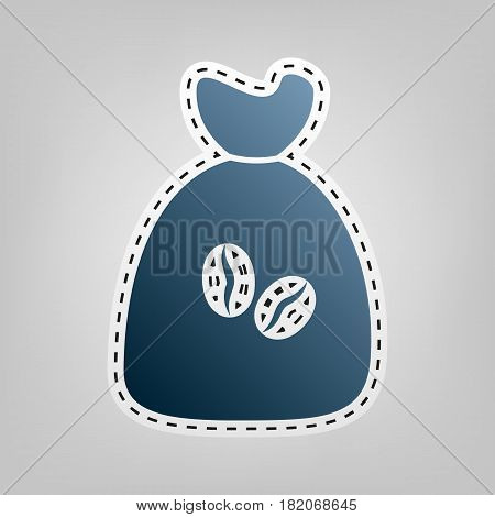 Coffee bag Icon. Coffee bag. Vector. Coffee bag Icon Button. Vector. Blue icon with outline for cutting out at gray background.