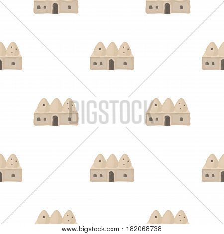 Beehive house icon in cartoon style isolated on white background. Turkey pattern vector illustration.