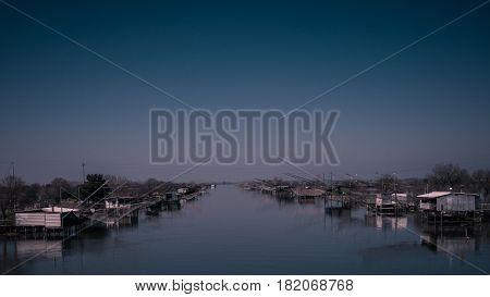 Capanni da pesca sui canali di Comacchio