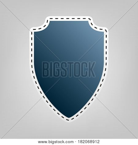 Shield sign illustration. Vector. Blue icon with outline for cutting out at gray background.