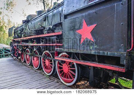 Old steam locomotive in amusement park in Szymbark Poland