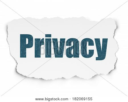 Protection concept: Painted blue text Privacy on Torn Paper background with  Hexadecimal Code