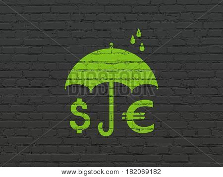 Security concept: Painted green Money And Umbrella icon on Black Brick wall background