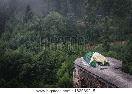 Tent on an unfinished abandoned castle in Lapalice Cassubia region of Poland