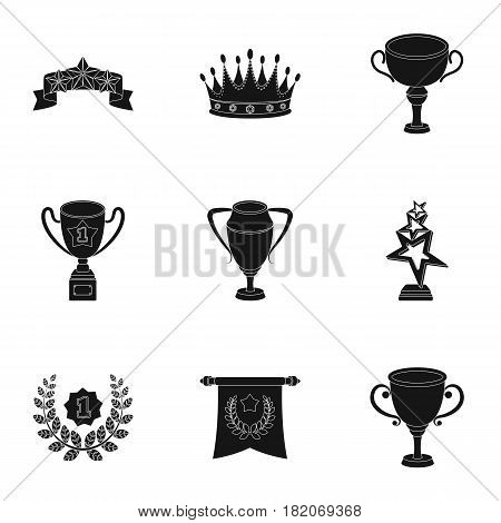 Awards, gold medals and cups as prizes in competitions and competitions. Awards and trophies icon in set collection on black style vector symbol stock web illustration.