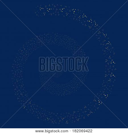 Space Stars majestic whirlpool spiral. Vector yellow random objects.