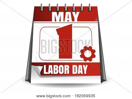 May 1. Calendar. Labor Day. International Workers Day. Vector illustration isolated on white background