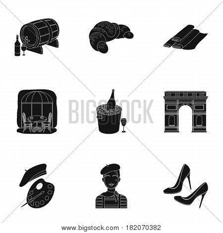Attractions in France. Things to learn about France. France country icon in set collection on black style vector symbol stock web illustration.