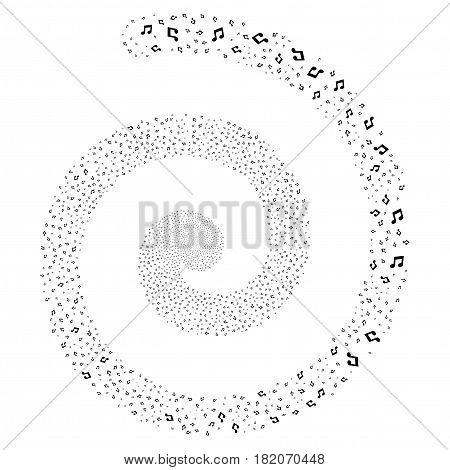 Music Notes exploding whirlpool spiral. Vector black random symbols.