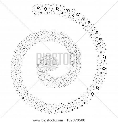 Music magic whirl spiral. Vector black scattered symbols.