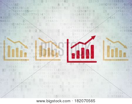 Business concept: row of Painted yellow decline graph icons around red growth graph icon on Digital Data Paper background