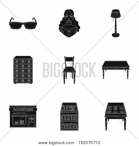 A set of icons with books. Seth about the library, reading, bookstore. Library and bookstore icon in set collection on black style vector symbol stock web illustration.