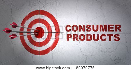 Success finance concept: arrows hitting the center of target, Red Consumer Products on wall background, 3D rendering