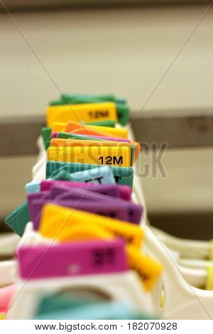 Photo of row of baby hangers at store