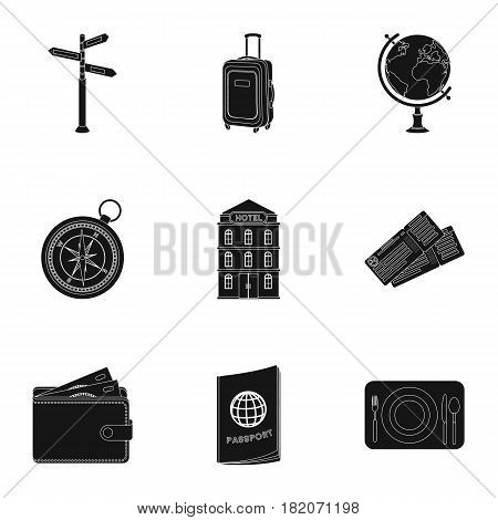 Set of icons on the theme of rest. Travel abroad. Rest ang travel icon in set collection on black style vector symbol stock web illustration.