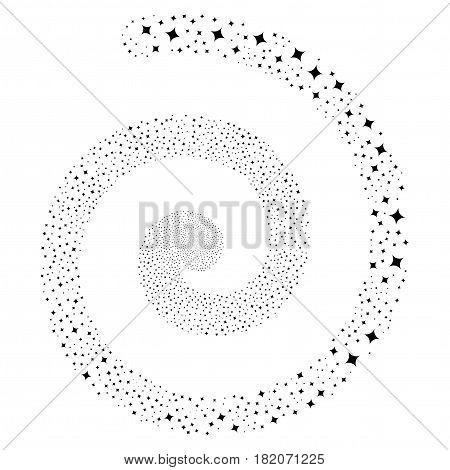 Sparcle Star decorative portal spiral. Vector black scattered symbols.