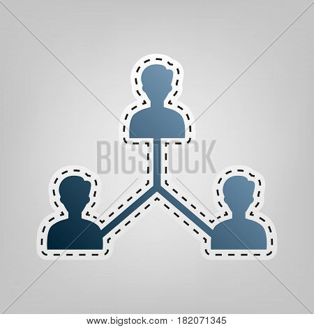 Social media marketing sign. Vector. Blue icon with outline for cutting out at gray background.