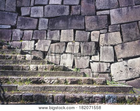 Light and Shade of Stairway and Stone Wall in Osaka Castle, Japan