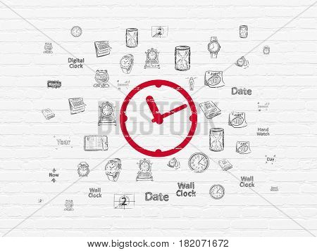 Time concept: Painted red Clock icon on White Brick wall background with  Hand Drawing Time Icons