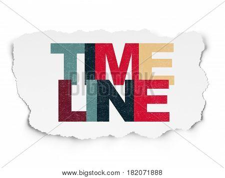 Timeline concept: Painted multicolor text Timeline on Torn Paper background