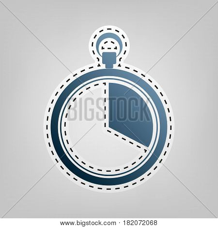 The 20 seconds, minutes stopwatch sign. Vector. Blue icon with outline for cutting out at gray background.