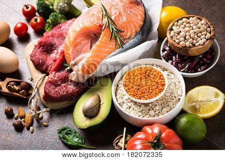 Balanced diet food background. Organic food for healthy nutrition. Ingredients for cooking.
