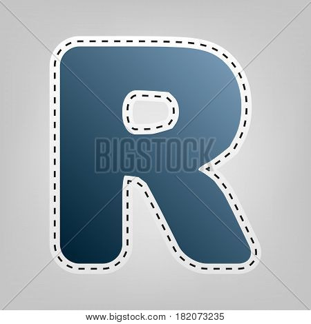 Letter R sign design template element. Vector. Blue icon with outline for cutting out at gray background.