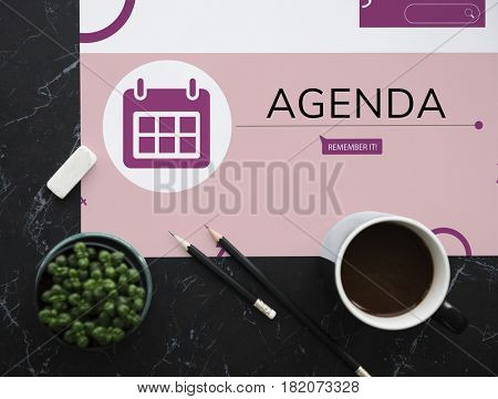 Workspace with coffee and illustration of personal organizer reminder calendar
