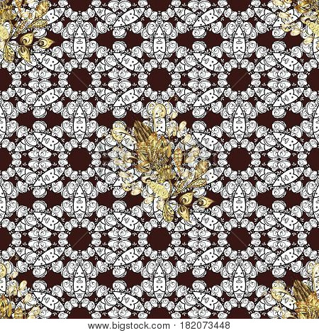 Golden element on brown background. Damask background. Gold brown floral ornament in baroque style. Seamless pattern. Golden floral sketch.