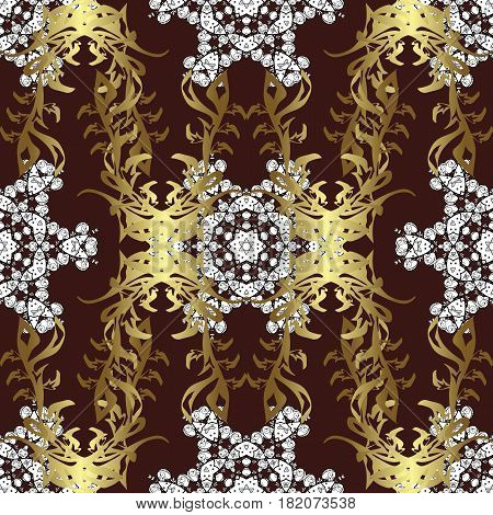 Vector illustration. Vintage seamless pattern on a brown background with golden elements.