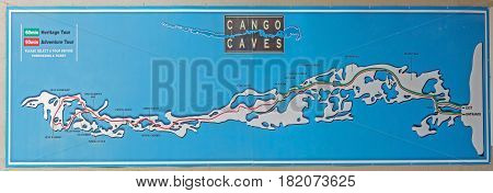 CANGO CAVES SOUTH AFRICA - MARCH 24 2017: Map of the caves at the entrance to the building at the Cango Caves near Oudtshoorn in the Western Cape Province