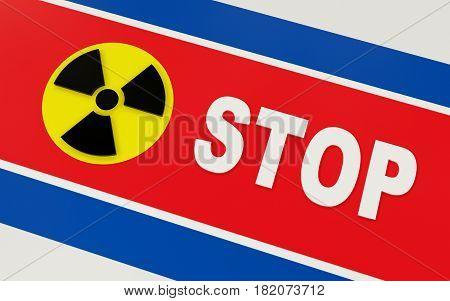Stop North Korea nuclear program. 3D rendering.