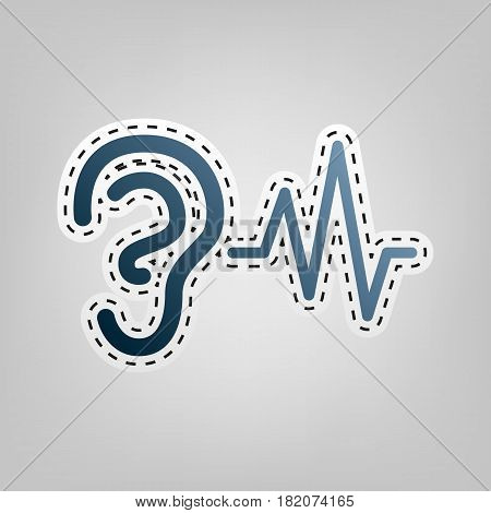 Ear hearing sound sign. Vector. Blue icon with outline for cutting out at gray background.