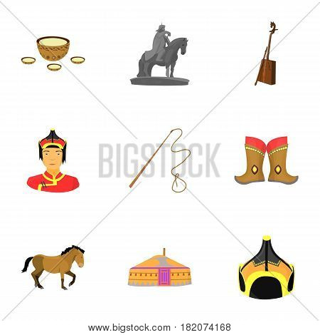 Mongolian national characteristics. Icons set about Mongolia.Clothing, soldiers, equipment. Mongolia icon in set collection on cartoon style vector symbol stock web illustration.